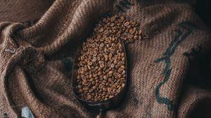 Превью обои кофейные зерна, кофе, ткань, мешок