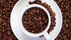 Превью обои кофейные зерна, зерна, кофе, кружка