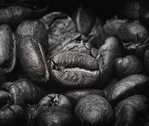 Превью обои кофейные зерна, зерна, кофе, черно-белый
