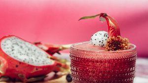 Превью обои коктейль, напиток, смузи, ягоды, стакан