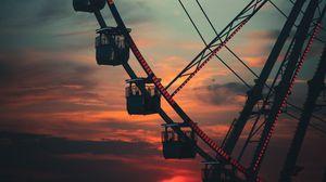 Превью обои колесо обозрения, аттракцион, небо, закат
