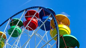 Превью обои колесо обозрения, аттракцион, разноцветный, кабинки
