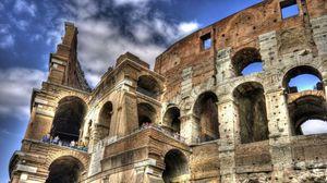 Превью обои колизей, италия, люди, небо