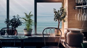 Превью обои комната, интерьер, окно, вид, мебель, цветы