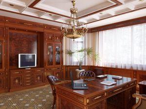 Превью обои комната, кабинет, стол, люстра, мебель, телевизор, ноутбук