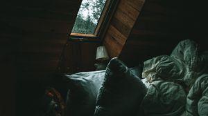 Превью обои комната, кровать, подушка, окно, темный
