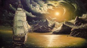 Превью обои корабль, арт, живопись, непогода