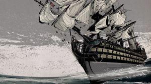 Превью обои корабль, море, паруса, английский корабль