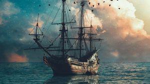 Превью обои корабль, море, волны, птицы, сумерки