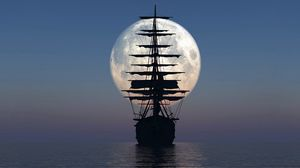 Превью обои корабль, море, закат, луна