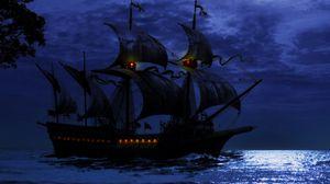 Превью обои корабль, ночь, море, арт, волны