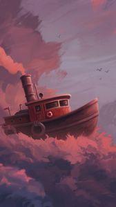 Превью обои корабль, облака, арт, небо, плыть, фантастический