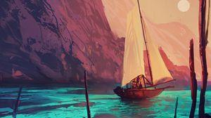 Превью обои корабль, парус, арт, лодка, краски