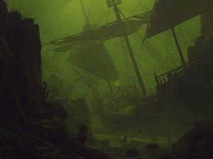 Превью обои корабль, парус, под водой, зеленый, темный