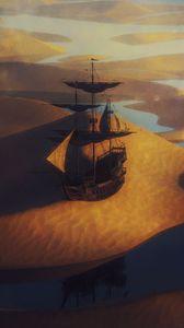 Превью обои корабль, парус, пустыня, песок, арт