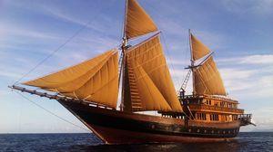 Превью обои корабль, паруса, море, небо