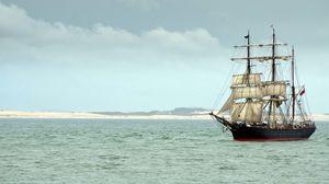 Превью обои корабль, паруса, море, пейзаж