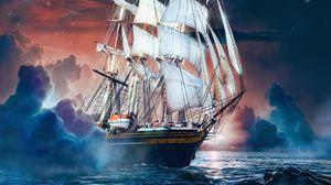 Превью обои корабль, море, волны, луна, камни, арт