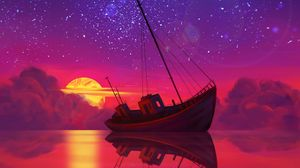 Превью обои корабль, полнолуние, горизонт, закат, арт