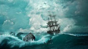 Превью обои корабль, шторм, волны, якорь, фотошоп