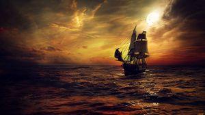 Превью обои корабль, солнце, закат, паруса