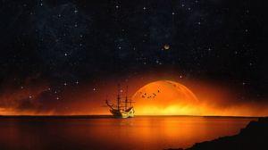 Превью обои корабль, звездное небо, ночь, море, фотошоп