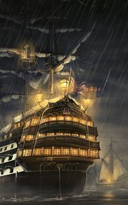 Превью обои корабли, море, свет, дождь