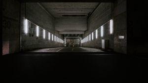 Превью обои коридор, туннель, темный, бункер, подземный