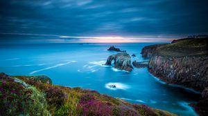 Превью обои корнуолл, англия, кельтское море, мыс лендс-энд