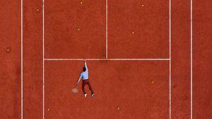 Превью обои корт, теннис, спортсмен, разметка, линии