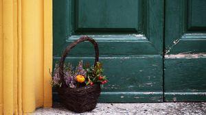 Превью обои корзина, букет, цветы, композиция, декорация