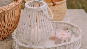 Превью обои корзина, свечи, банки, деревянный, плетеный