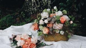 Превью обои корзина, цветы, композиция