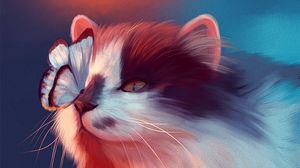 Превью обои кошка, бабочка, арт, пушистый, милый