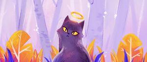 Превью обои кошка, нимб, арт, фиолетовый
