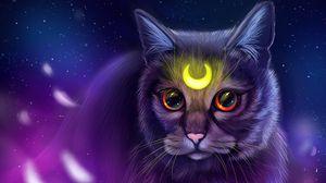 Превью обои кошка, взгляд, арт, символ, свечение