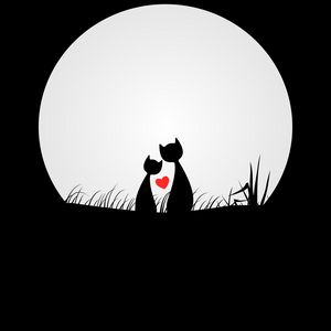 Превью обои кошки, любовь, силуэты, ночь, луна