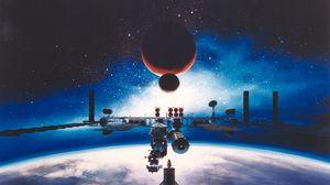 Превью обои космическая станция, луна, земля, марс, галактика, вселенная
