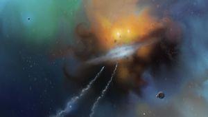 Превью обои космические корабли, скорость, туманность, космос, арт