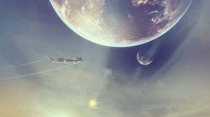 Превью обои космический корабль, пирамиды, пустыня, фэнтези, арт