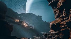 Превью обои космический корабль, скалы, юпитер, планета, иллюзия