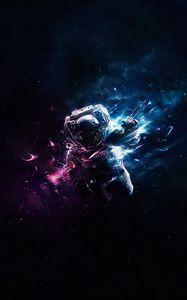 Превью обои космонавт, астронавт, арт, космос, полет, гравитация