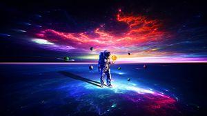 Превью обои космонавт, астронавт, скафандр, космос, планеты, разноцветный