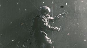 Превью обои космонавт, гравитация, скафандр, прыжок, серый