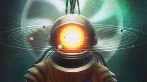 Превью обои космонавт, космос, арт, солнечная система, песочные часы, сюрреализм