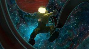 Превью обои космонавт, космос, открытый космос, арт