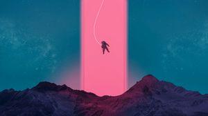 Превью обои космонавт, неон, арт, космос, горы