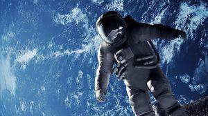 Превью обои космонавт, невесомость, скафандр, открытый космос