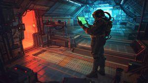 Превью обои космонавт, планшет, космическая станция, sci-fi, арт
