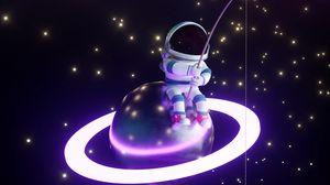 Превью обои космонавт, рыбак, планета, свечение, звезды, арт